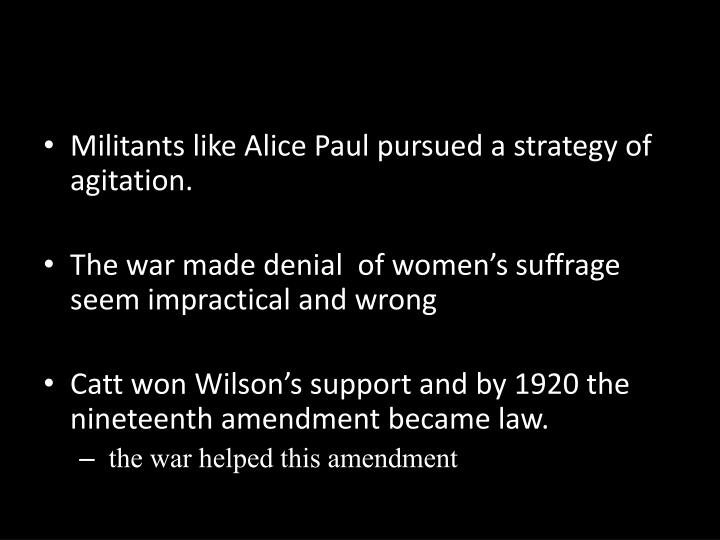 Militants like Alice Paul pursued a strategy of agitation.
