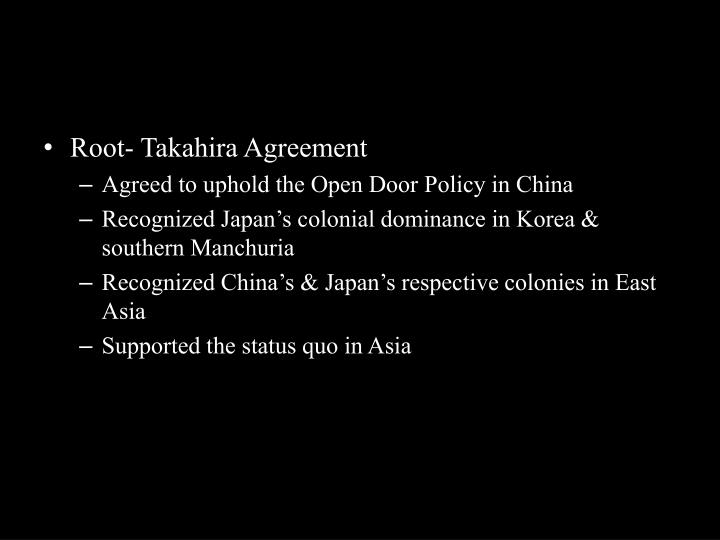 Root- Takahira Agreement