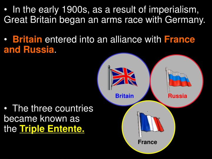 In the early 1900s, as a result of imperialism,       Great Britain began an arms race with Germany.