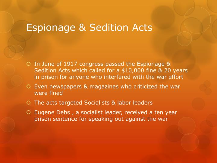 Espionage & Sedition Acts