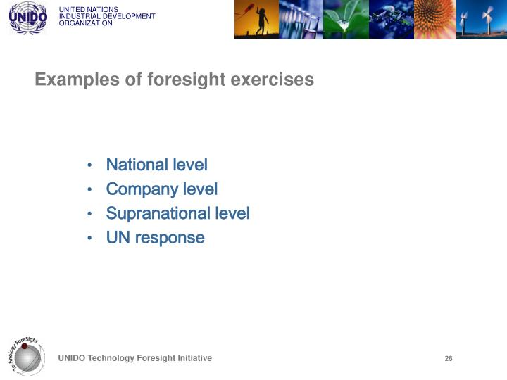 Examples of foresight exercises