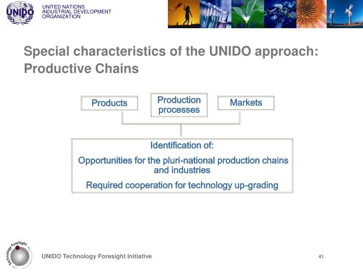 Special characteristics of the UNIDO approach: