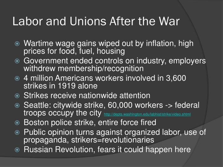 Labor and Unions After the War