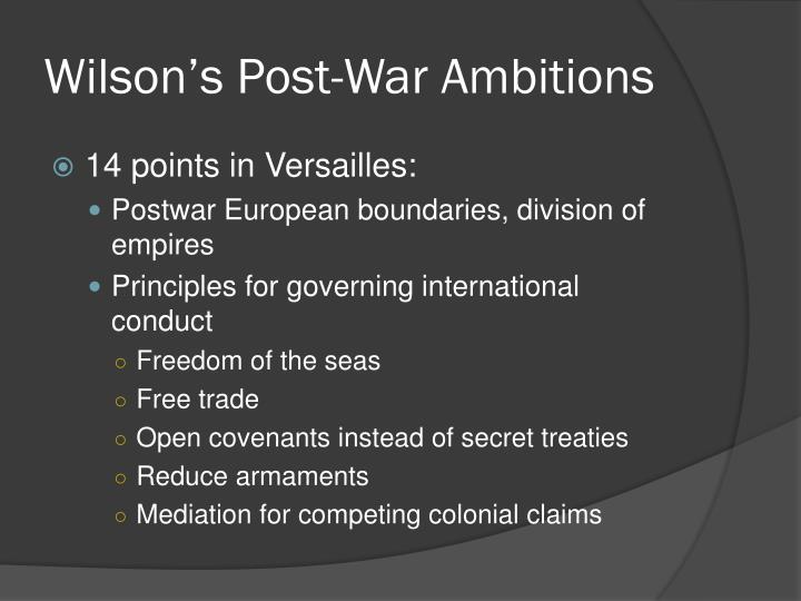 Wilson's Post-War Ambitions