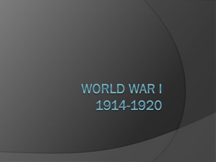 World war i 1914 1920