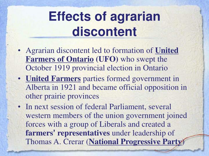 Effects of agrarian discontent