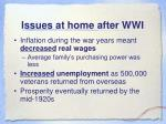 issues at home after wwi