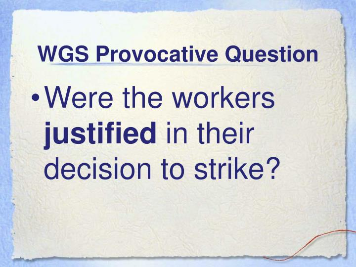 WGS Provocative Question