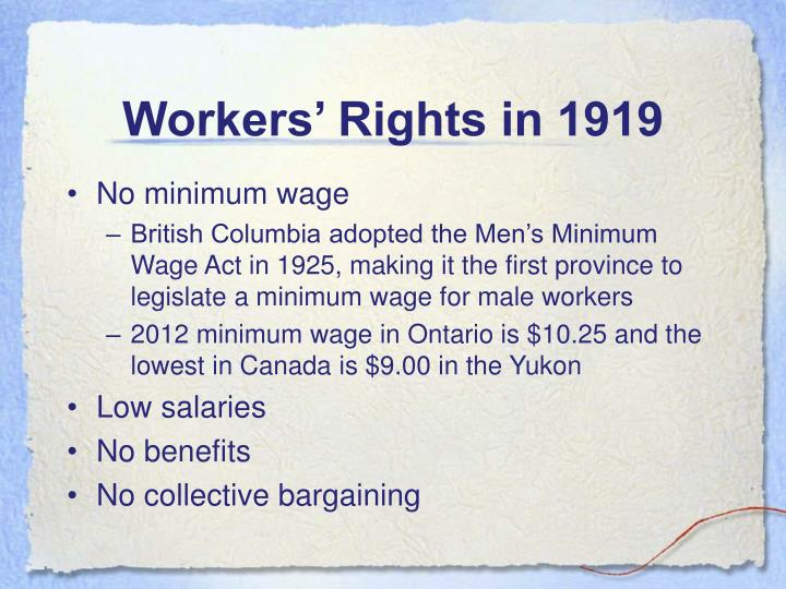 Workers' Rights in 1919