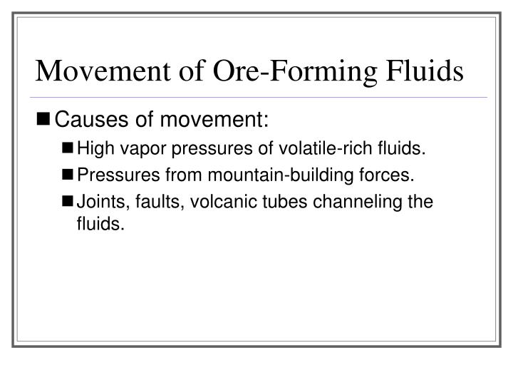 Movement of Ore-Forming Fluids