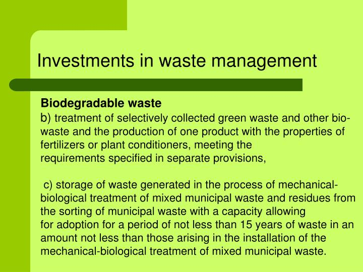 Investments in waste management