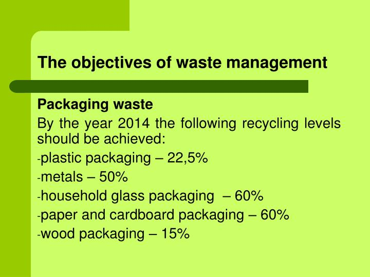The objectives of waste management