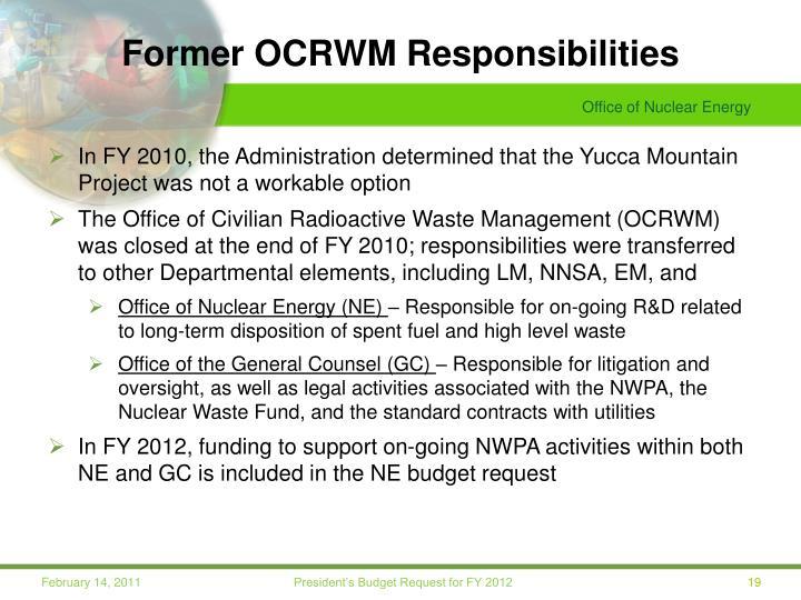 Former OCRWM Responsibilities