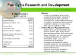 fuel cycle research and development