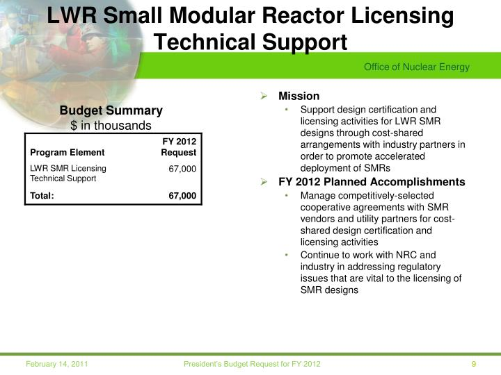 LWR Small Modular Reactor Licensing Technical Support