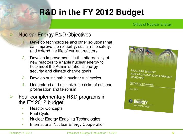 R&D in the FY 2012 Budget