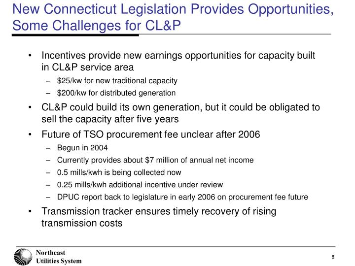 New Connecticut Legislation Provides Opportunities, Some Challenges for CL&P