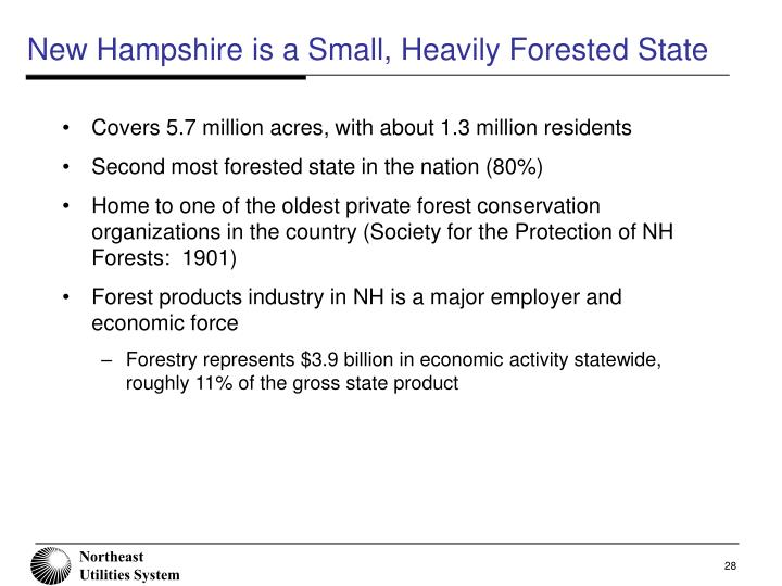 New Hampshire is a Small, Heavily Forested State