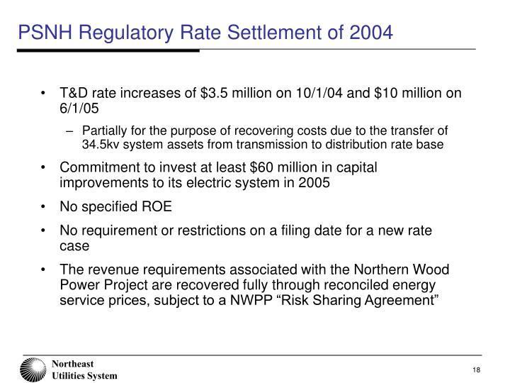PSNH Regulatory Rate Settlement of 2004