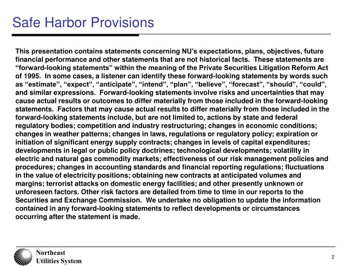 Safe harbor provisions