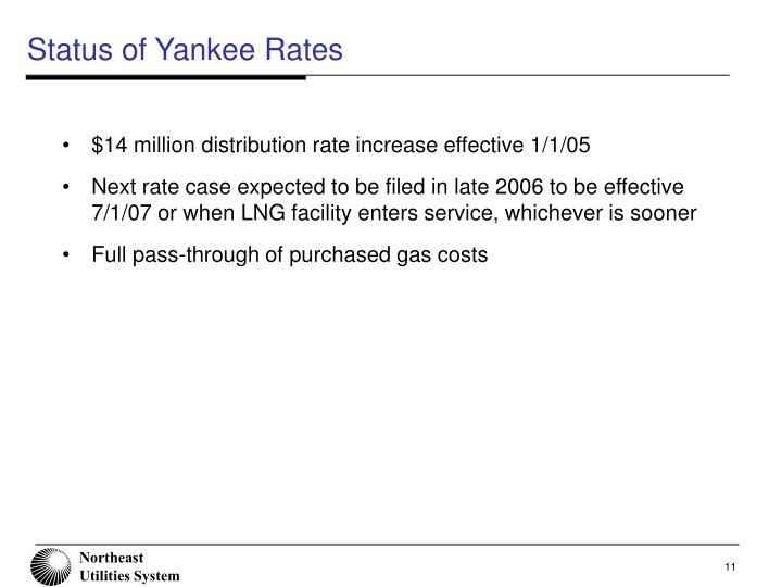 Status of Yankee Rates