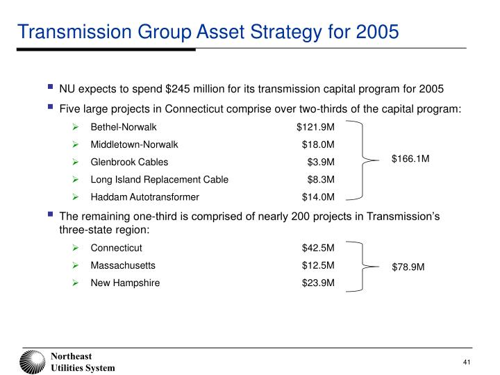 Transmission Group Asset Strategy for 2005