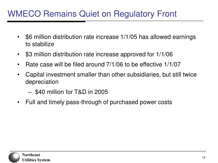 WMECO Remains Quiet on Regulatory Front
