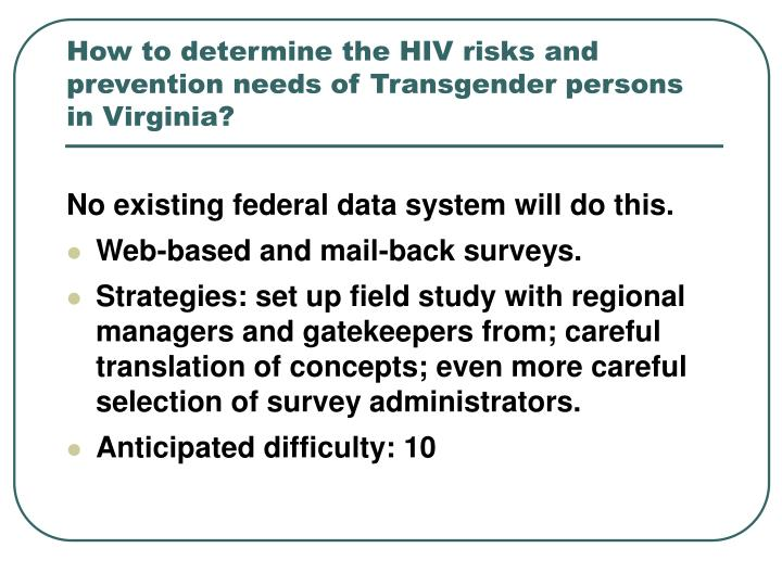 How to determine the HIV risks and prevention needs of Transgender persons in Virginia?
