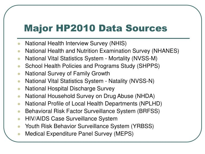 Major HP2010 Data Sources