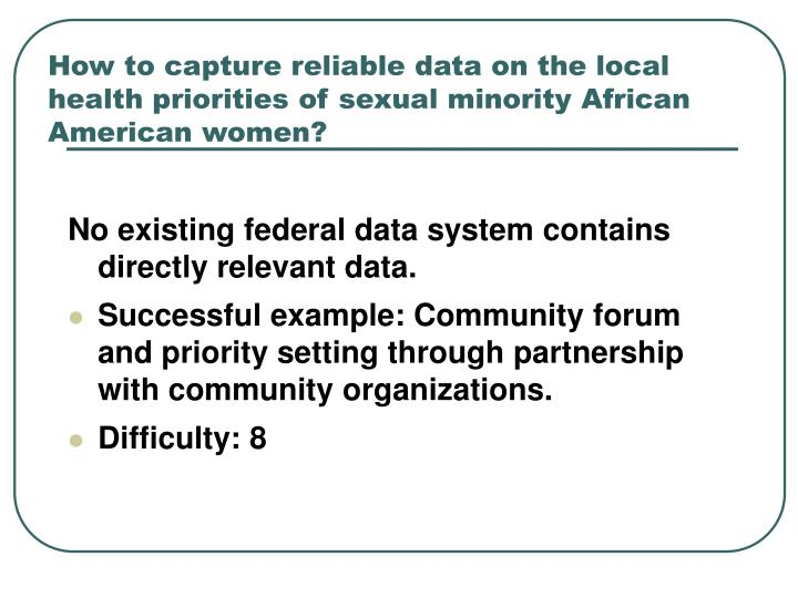 How to capture reliable data on the local health priorities of sexual minority African American women?