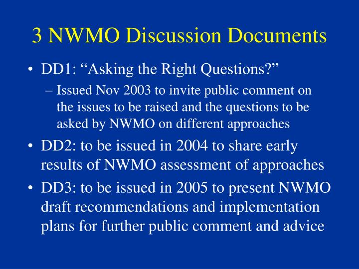 3 NWMO Discussion Documents