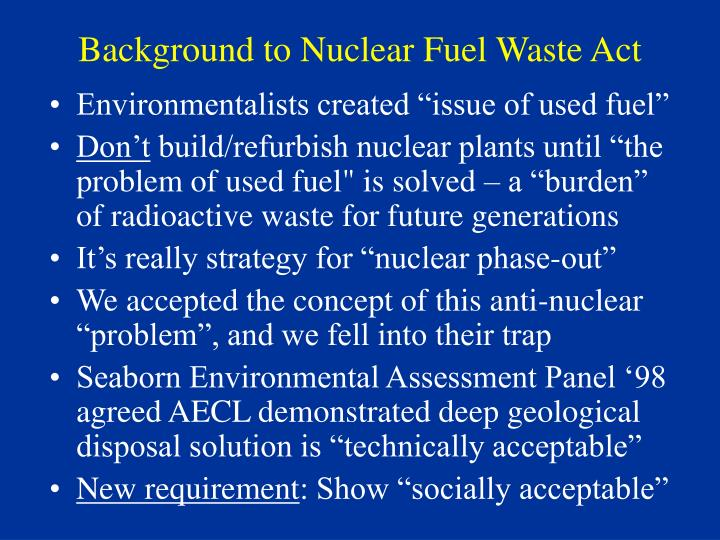 Background to Nuclear Fuel Waste Act