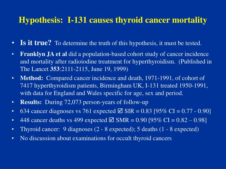 Hypothesis:  I-131 causes thyroid cancer mortality