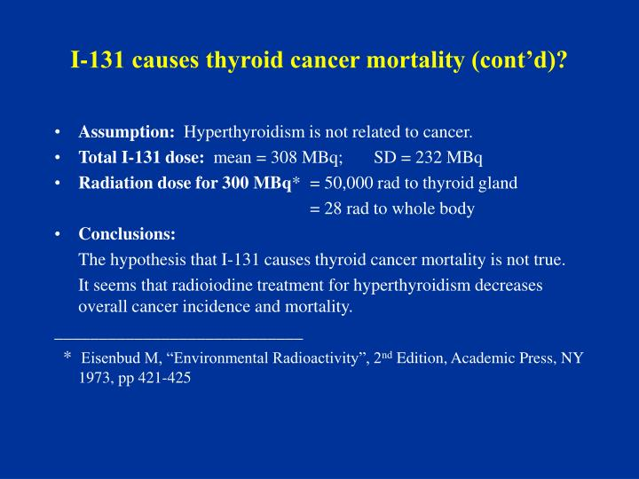 I-131 causes thyroid cancer mortality (cont'd)?