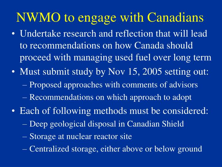 NWMO to engage with Canadians