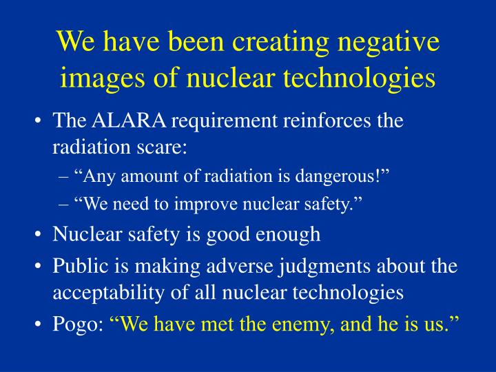 We have been creating negative images of nuclear technologies