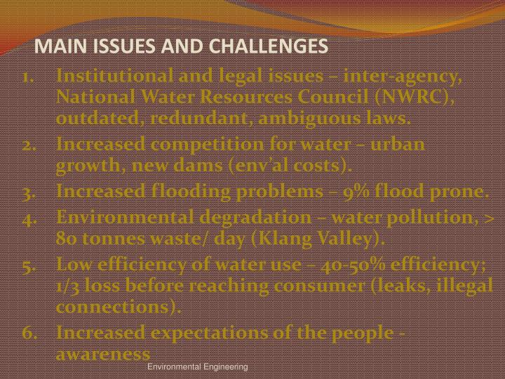 MAIN ISSUES AND CHALLENGES