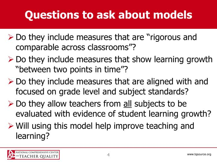 Questions to ask about models