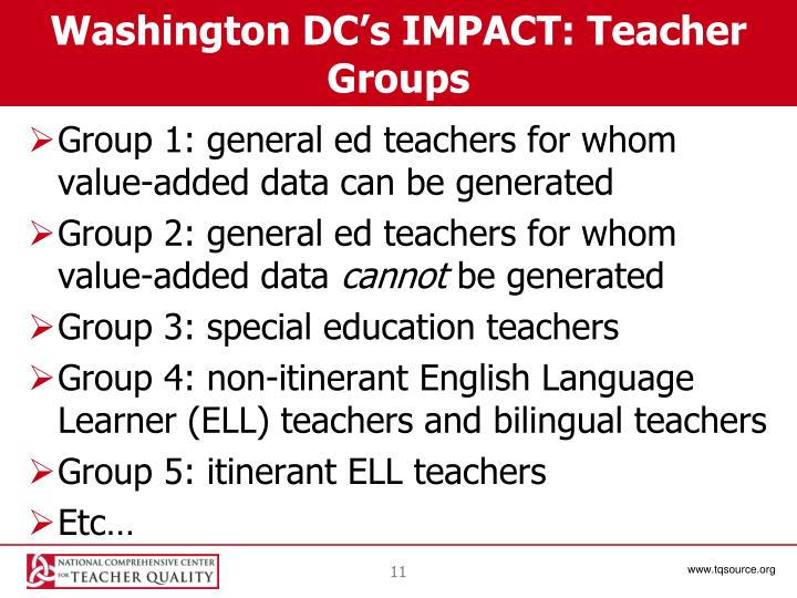 Washington DC's IMPACT: Teacher Groups