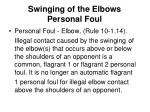 swinging of the elbows personal foul