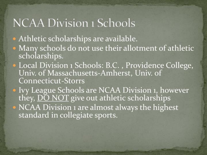 NCAA Division 1 Schools