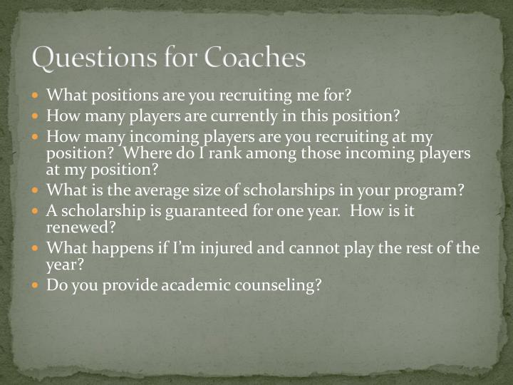 Questions for Coaches
