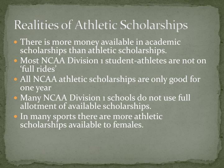 Realities of athletic scholarships