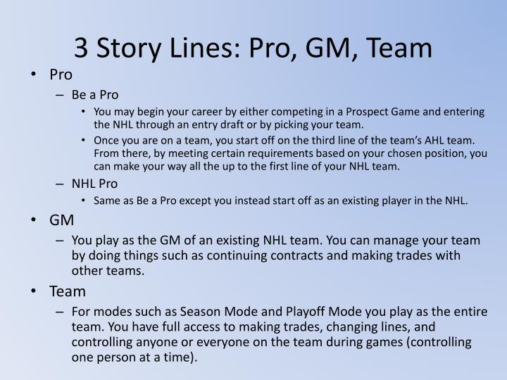 3 Story Lines: Pro, GM, Team