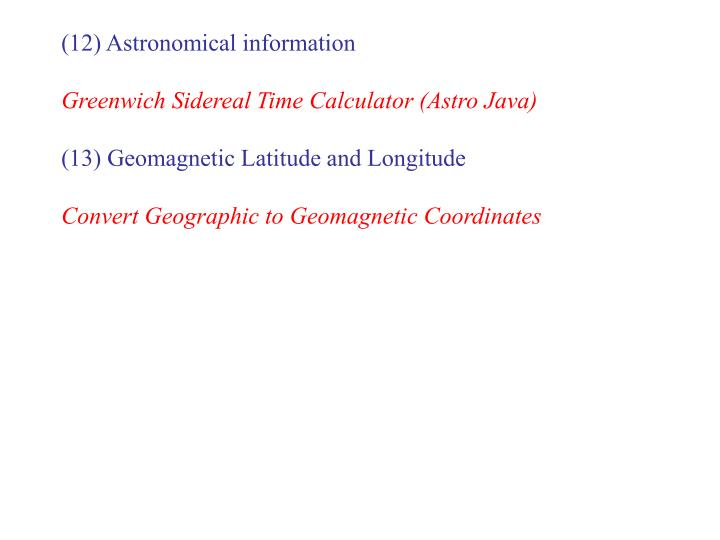 (12) Astronomical information