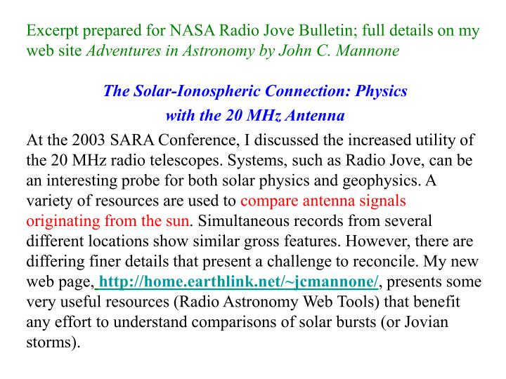 Excerpt prepared for NASA Radio Jove Bulletin; full details on my web site
