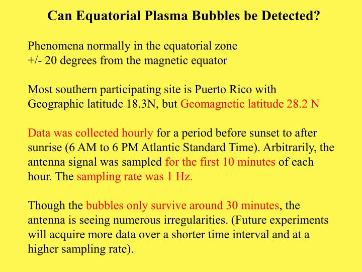 Can Equatorial Plasma Bubbles be Detected?