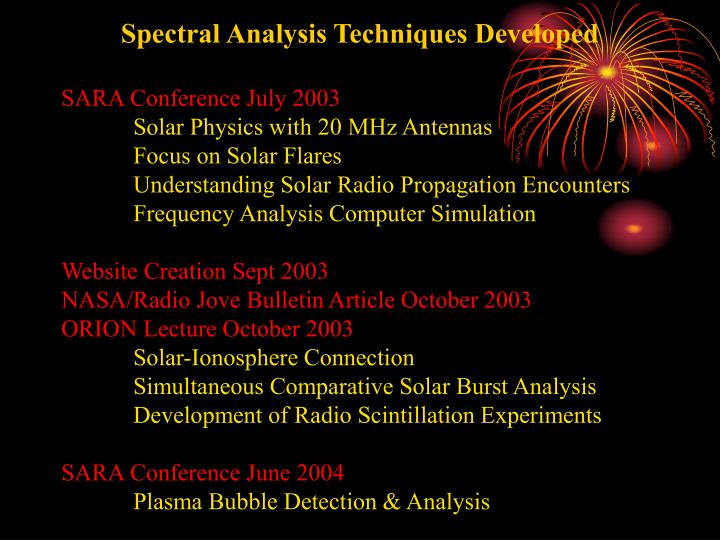 Spectral Analysis Techniques Developed