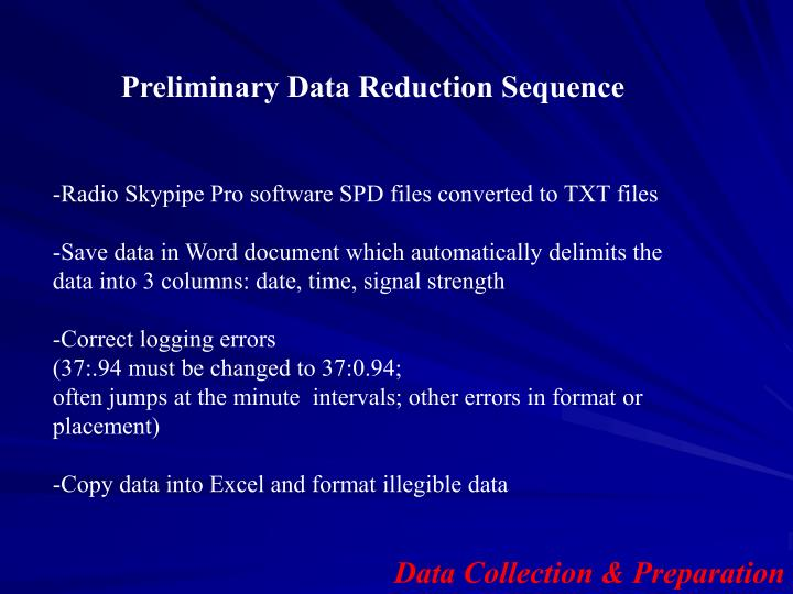 Preliminary Data Reduction Sequence
