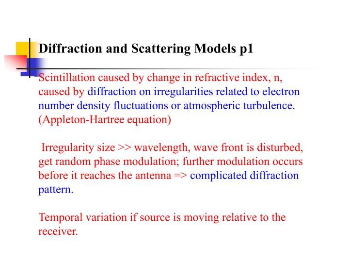 Diffraction and Scattering Models p1